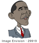 #29919 Clip Art Graphic Of Barack Hussein Obama I Wearing A Patriotic American Flag Pin On His Tie And Looking Upwards