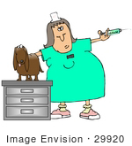 #29920 Clip Art Graphic Of A Stressed Out Dog On A Table In An Exam Room Watching As A Vet Tech Prepares A Needle For A Vaccine