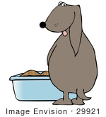 #29921 Clip Art Graphic Of A House Trained Dog Peeing Into A Blue Litter Box