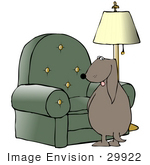 #29922 Clip Art Graphic Of A Non-Housebroken Dog Urinating On A Green Living Room Chair