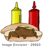 #29923 Clip Art Graphic of a Goofy Dachshund Dog Lying Under Pickles On A Hot Dog Bun Near Ketchup And Mustard Containers by DJArt