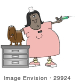 #29924 Clip Art Graphic Of A Worried Dog On An Exam Table Watching A Female Vet Tech Prepare A Needle For A Shot