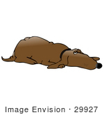 #29927 Clip Art Graphic of a Reliable Old Brown Hound Dog Sleeping With One Eye Open While Guarding His Home by DJArt