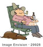 #29928 Clip Art Graphic Of A Loyal Hound Dog Sleeping With One Eye Open Beside His Master A Hillbilly Cowboy Who Is Drinking Beer And Smoking A Pipe With A Cat In His Lap While Rocking In A Rocking Chair