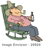 #29929 Clip Art Graphic Of A Cowboy Smoking A Tobacco Pipe And Drinking A Beer While Sitting In A Rocking Chair Trying To Unwind At The End Of A Long Day