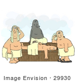 #29930 Clip Art Graphic Of Four Sweaty Men Wrapped In Towels Perspiring In A Hot Sauna