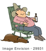 #29931 Clip Art Graphic Of A Tired Cowboy Smoking A Pipe And Drinking A Beer While Sitting In A Rocking Chair With His Tired Old Hound Dog Sleeping With One Eye Open Beside Him