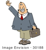 #30188 Clip Art Graphic Of A Friendly Caucasian Businessman Carrying A Briefcase Waving Smiling And Showing His Metal Mouth Of Braces