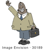 #30189 Clip Art Graphic Of A Friendly Black Businessman Carrying A Briefcase Waving Smiling And Showing His Metal Mouth Of Braces