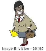 #30195 Clip Art Graphic Of A Friendly Black Business Woman Carrying A Briefcase And Paper And Showing Her Metal Mouth Braces