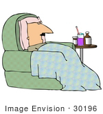 #30196 Clip Art Graphic of a Sick White Man With a Blanket and Pillow, Sitting in a Chair With Medicine by His Side by DJArt
