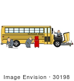 #30198 Clip Art Graphic Of A Group Of Male Mechanics Repairing The Engine Of A Yellow School Bus