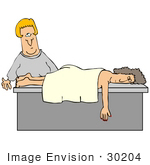 #30204 Clip Art Graphic of a Blond White Masseuse Woman Preparing To Wake A Relaxed Client After She Fell Asleep During A Massage by DJArt