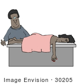 #30205 Clip Art Graphic Of A Black Masseuse Woman Preparing To Wake A Relaxed Client After She Fell Asleep During A Massage