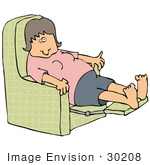#30208 Clip Art Graphic Of An Exhausted White Woman Leaning Back In A Recliner Chair After A Long Day