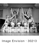 #30213 Stock Photo Of 9 Female Dancers Of Paul Tcherinkoff'S Russian Dancers Posing For A Portrait 1923
