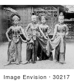 #30217 Stock Photo of Four Female Javanese Dancers In Costumes In Javanese Village At The Paris Exposition Of 1889 by JVPD