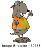 #30368 Clip Art Graphic Of A Hippie Dog In A Tie Dye Shirt And Sandals Flashing The Peace Sign Gesture