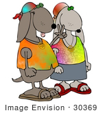 #30369 Clip Art Graphic of a Hippie Dog Couple Wearing Tie Dye Shirts, Flashing The Peace Sign by DJArt