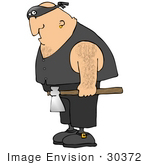 #30372 Clip Art Graphic Of A Hairy Cacasian Executioner Man Carrying An Ax