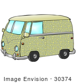 #30374 Clip Art Graphic Of A Hippie Volkswagen Van With Yellow And Green Moon And Star Patterns