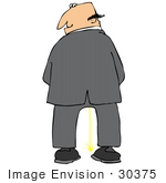 #30375 Clip Art Graphic Of A Mischievous Businessman Pissing And Looking Back Over His Shoulder