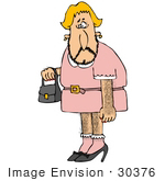 #30376 Clip Art Graphic of a Hairy Male Crossdresser in a Dress, Carrying a Purse by DJArt