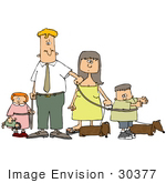 #30377 Clip Art Graphic of a Man And Woman, Mother And Father, Walking With Their Dogs And Children, All On Leashes by DJArt