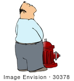 #30378 Clip Art Graphic Of A Middle Aged Man Pissing On A Red Fire Hydrant