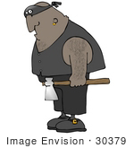 #30379 Clip Art Graphic of a Hairy Black Executioner Man Carrying an Ax by DJArt