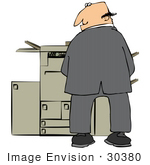 #30380 Clip Art Graphic Of A Businessman Pissing On An Office Copier Machine And Looking Back Over His Shoulder
