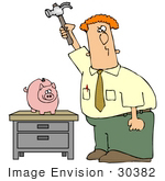 #30382 Clip Art Graphic Of A Businessman About To Break A Piggy Bank With A Hammer