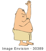 #30389 Clip Art Graphic Of A White Man Wrapped In A Towel Applying Antiperspirant To His Armpit