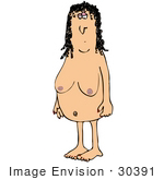 #30391 Clip Art Graphic Of A Naked Woman Ready To Get In The Shower