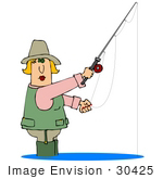 #30425 Clip Art Graphic of a Middle Aged Blond Caucasian Woman Wearing a Vest and Wading Pants While Fishing by DJArt