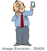 #30426 Clip Art Graphic Of A Caucasian Businesman Using Scissors To Trim His Nose Hair While Looking In A Mirror by DJArt
