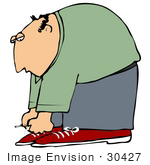 #30427 Clip Art Graphic Of A Balding Middle Aged Caucasian Man Bending Over To Tie The Laces Of His Red Shoes