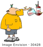 #30428 Clip Art Graphic Of A Nature Loving Balding Middle Aged Caucasian Man Filling A Humming Bird Feeder With Red Nectar As Hummingbirds Perch On Him And The Feeder