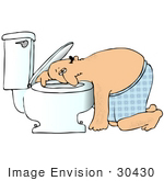#30430 Clip Art Graphic Of A Nauseated Caucasian Man With The Flu Leaning His Head Under The Toilet Seat After Throwing Up