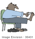 #30431 Clip Art Graphic Of A Balding Middle Aged Hispanic Or African American Man Holding His Feet Up While Sitting In A Chair And Clipping His Toenails