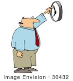 #30432 Clip Art Graphic of a Bald Middle Aged Caucasian Businessman Reaching His Arm Up To Speed Up The Clock So He Can Get Out Of Work Faster, Or Adjusting The Time For Daylight Savings by DJArt