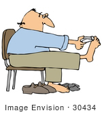 #30434 Clip Art Graphic Of A Balding Middle Aged Caucasian Man Holding His Feet Up While Sitting In A Chair And Clipping His Toenails