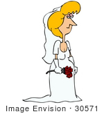 #30571 Clip Art Graphic Of A Beautiful Blond Caucasian Woman A Bride Posing In Her White Wedding Gown Veil And Gloves Holding A Bouquet Of Red Roses