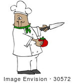 #30572 Clip Art Graphic Of A Hispanic Or French Male Chef Wearing A Chef'S Hat And Jacket With A Green Collar Holding A Tomato And A Knife While Preparing Food In A Kitchen
