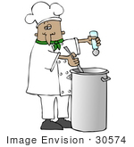 #30574 Clip Art Graphic of a Hispanic Or French Male Chef Wearing A Chef's Hat And Jacket With A Green Collar, Stirring A Pot Of Food While Seasoning It With Salt by DJArt