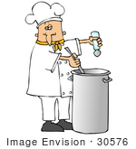 #30576 Clip Art Graphic Of A Caucasian Male Chef Wearing A Chef'S Hat And Jacket With A Yellow Collar Stirring A Pot Of Food While Seasoning It With Salt