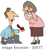 #30577 Clip Art Graphic Of A Romantic Caucasian Man Kneeling Before An Excited Woman And Holding Out A Huge Diamond On An Engagement Ring While Proposing To Her
