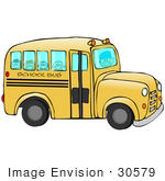 #30579 Clip Art Graphic Of Happy School Kids Riding To School On A Yellow Bus