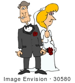 #30580 Clip Art Graphic Of A Nervous Caucasian Groom Standing Beside His Blond Bride