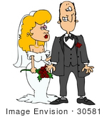 #30581 Clip Art Graphic Of A Nervous Caucasian Groom With Cold Feet Standing Beside His Beautiful Blond Bride At Their Wedding